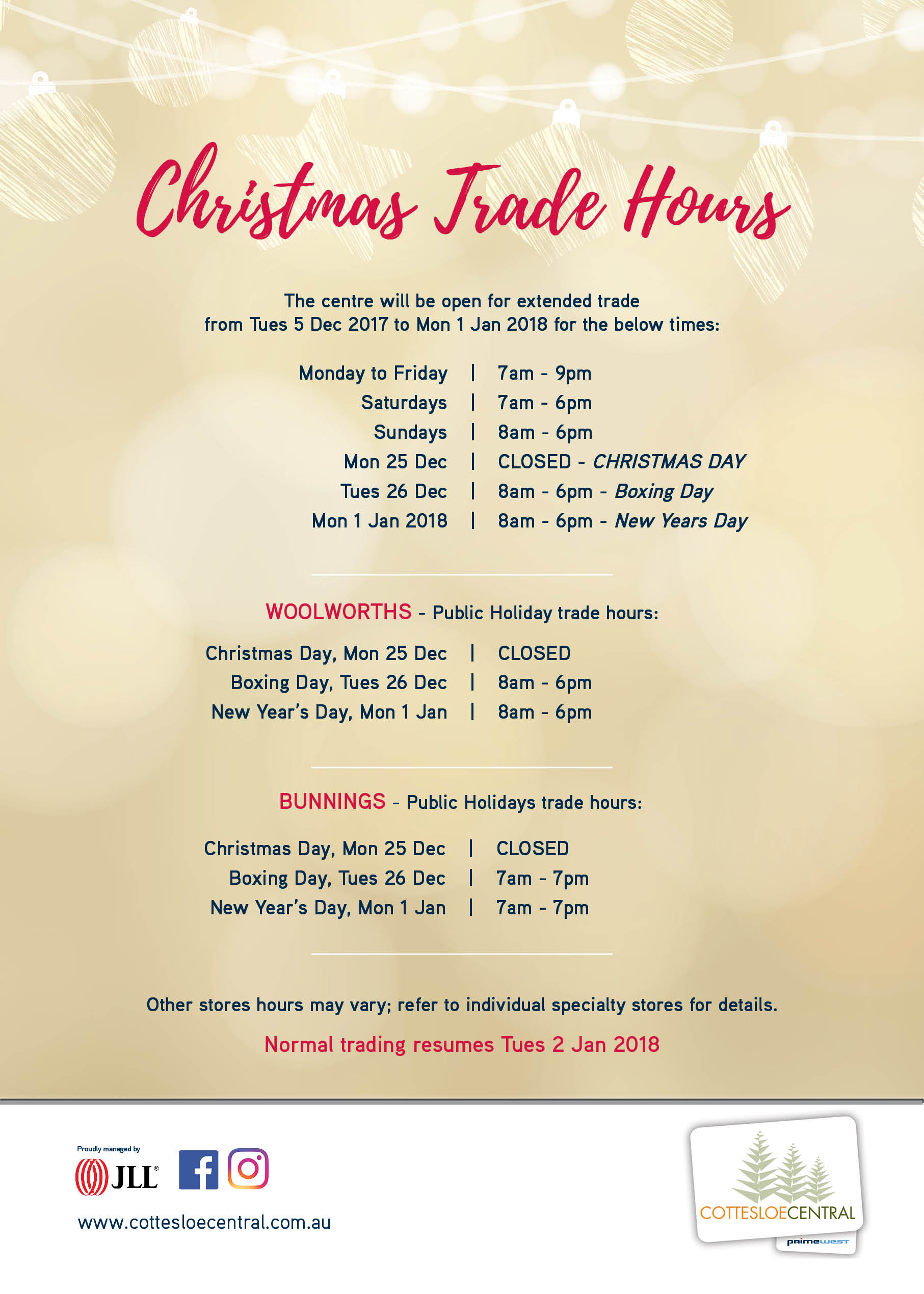 CHRISTMAS TRADING HOURS – Cottesloe Central